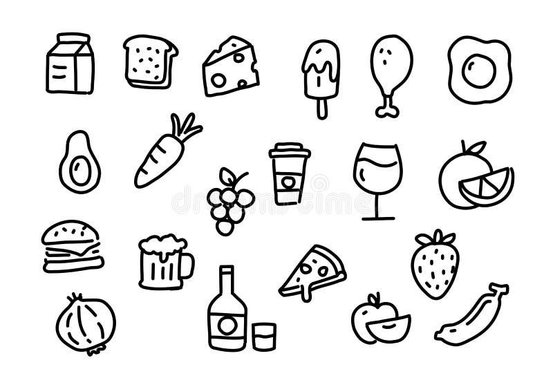 Ikony jedzenie, wektor ilustracja wektor