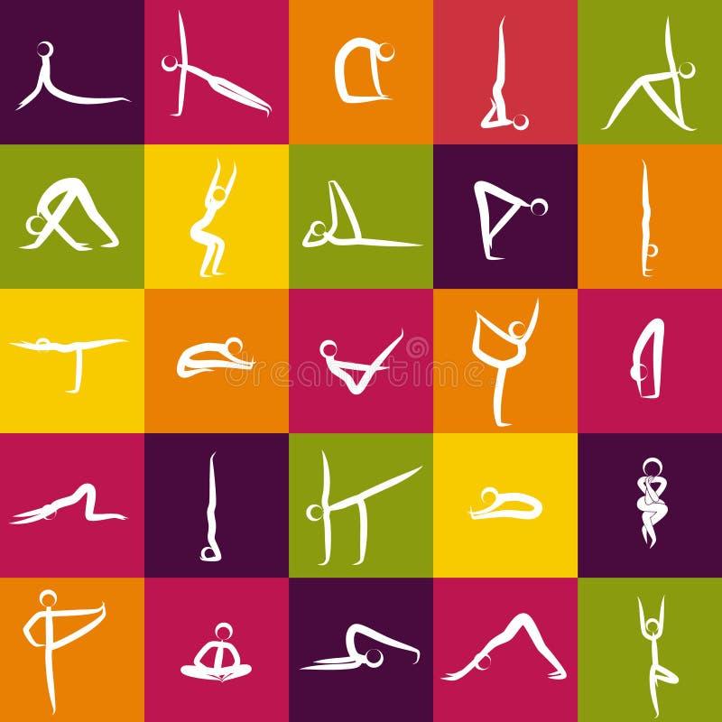 Ikony joga asanas, pozy royalty ilustracja