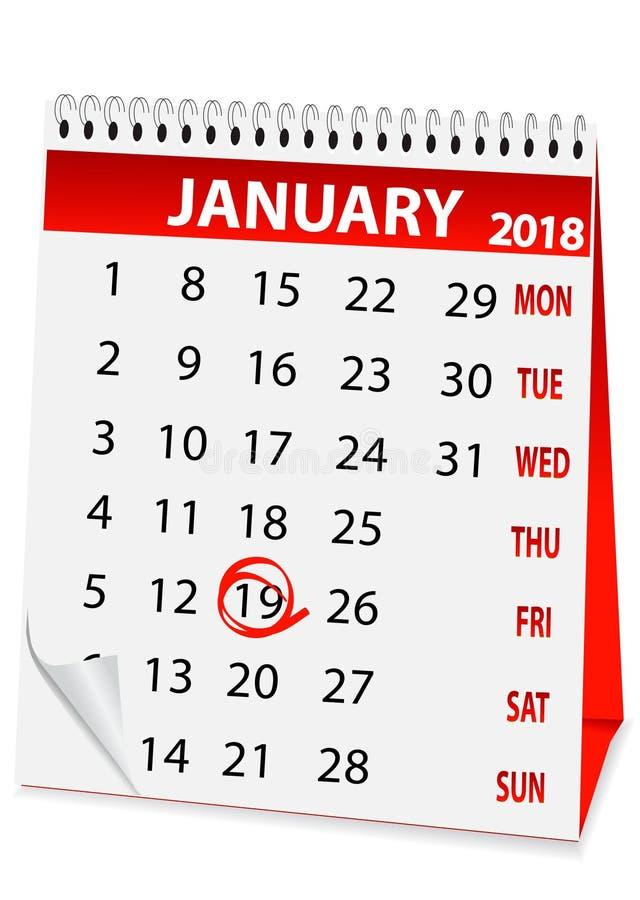 Ikony kalendarzowy objawienie pańskie 2018 ilustracji