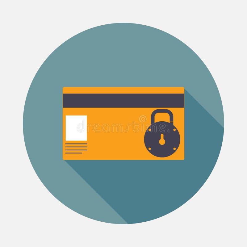 Ikony karty kredytowej ochrona, blokująca, fleta projekt royalty ilustracja