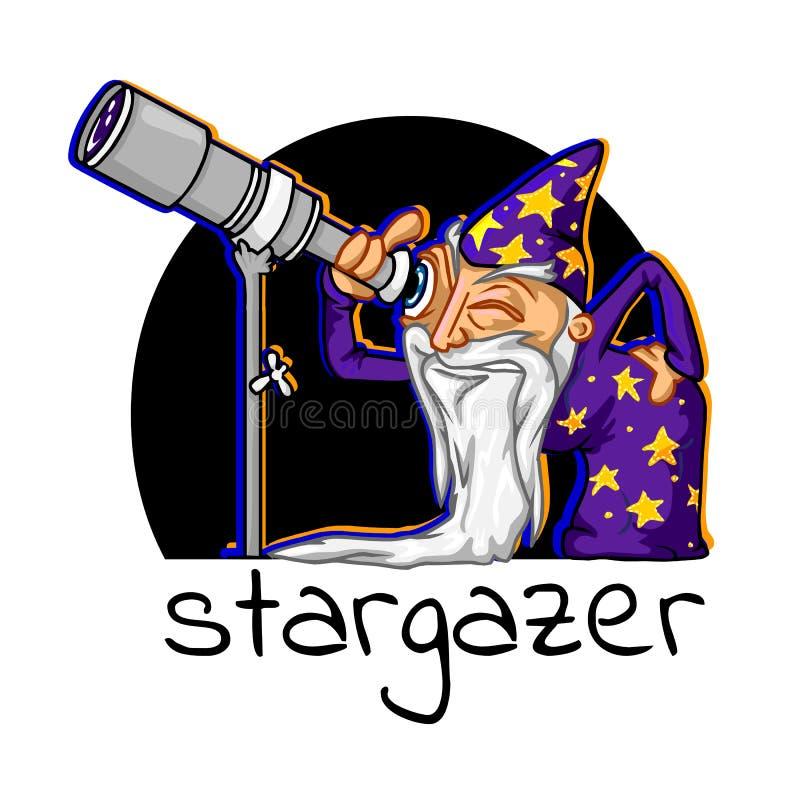 Ikony kreskówki astrolog ilustracja wektor