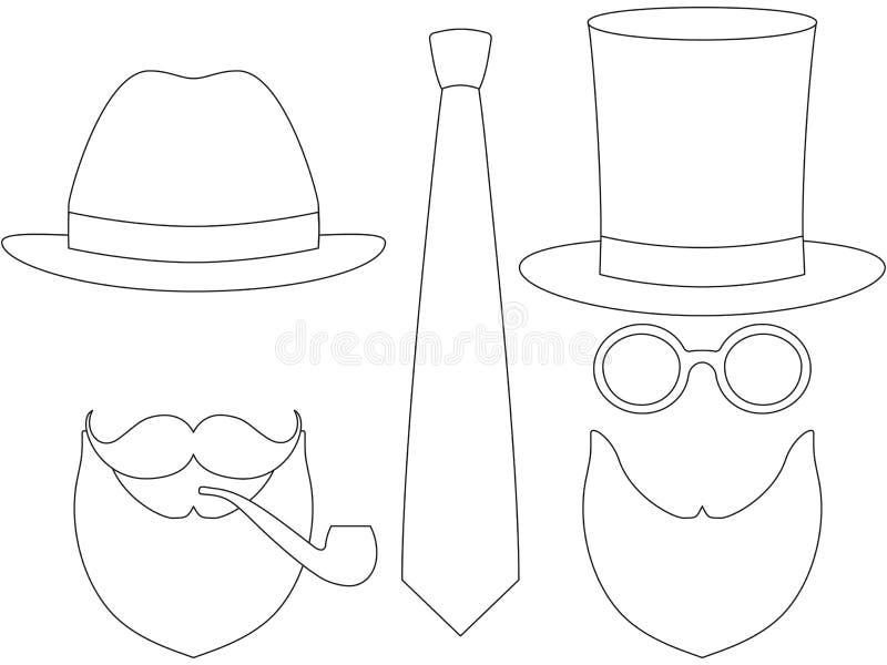 Ikony kreskowej sztuki mężczyzna ojca tata dnia avatar plakatowi elementy ustawiają wysokiej kapeluszowej glasess wąsy dymienia d ilustracji