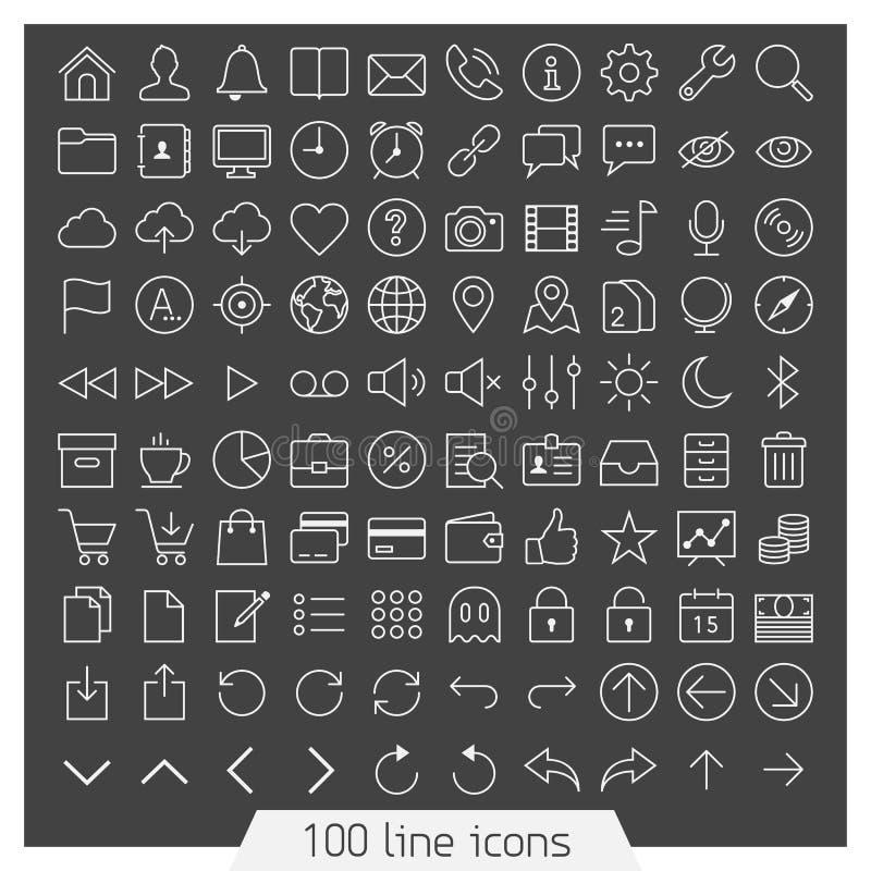 100 ikony kreskowy set royalty ilustracja