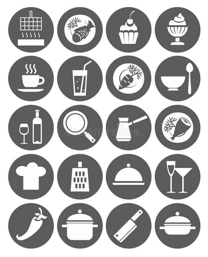 Ikony kuchnie, restauracja, kawiarnia, jedzenie, napoje, naczynia, monochrom, mieszkanie royalty ilustracja