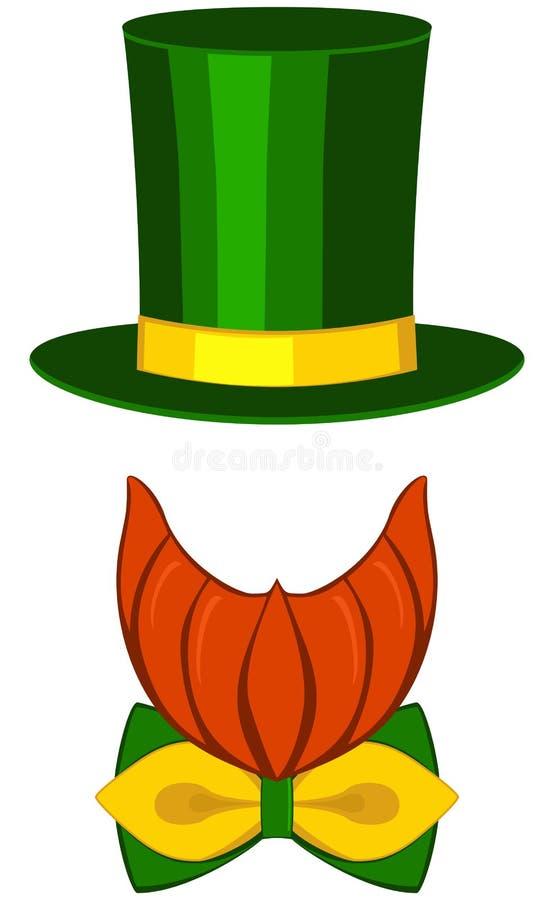 Ikony leprechaun st Patrick dnia avatar plakatowego elementu szkieł ustalona wysoka kapeluszowa broda, bóbr, łęku krawat ilustracja wektor