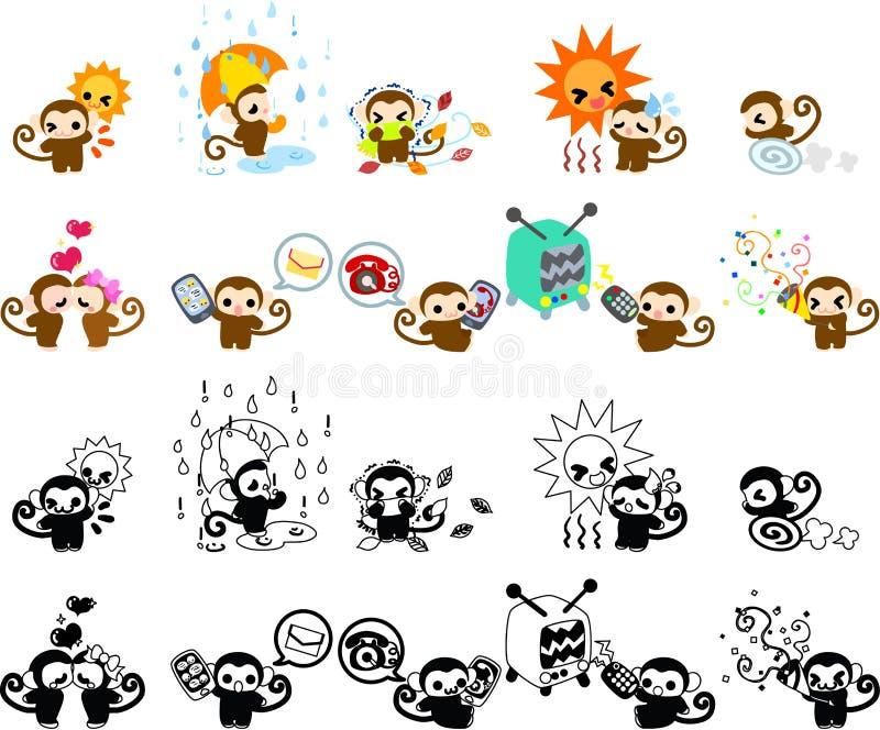 Ikony małpy część 4 ilustracja wektor