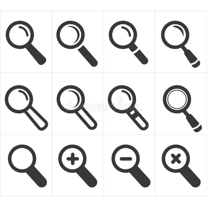 ikony magnifier i rewizja ilustracja wektor