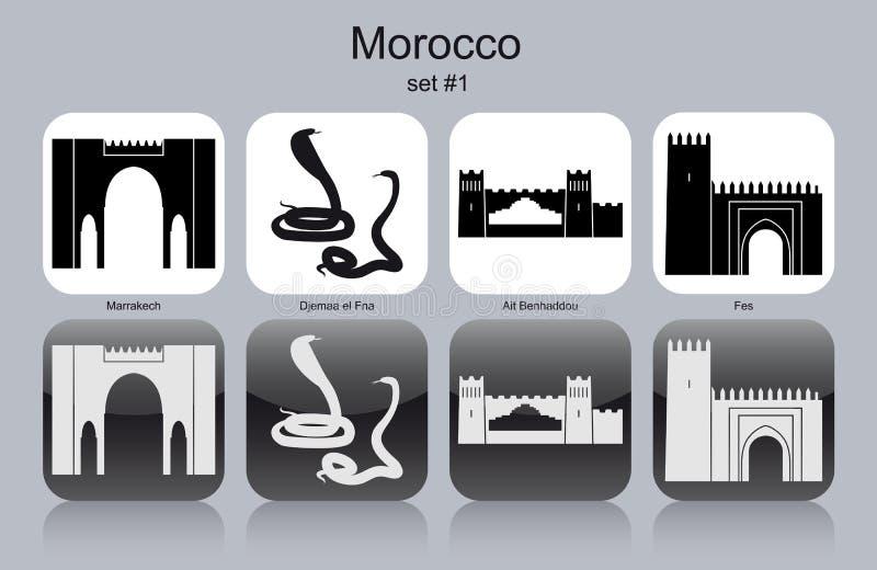 Ikony Maroko ilustracja wektor