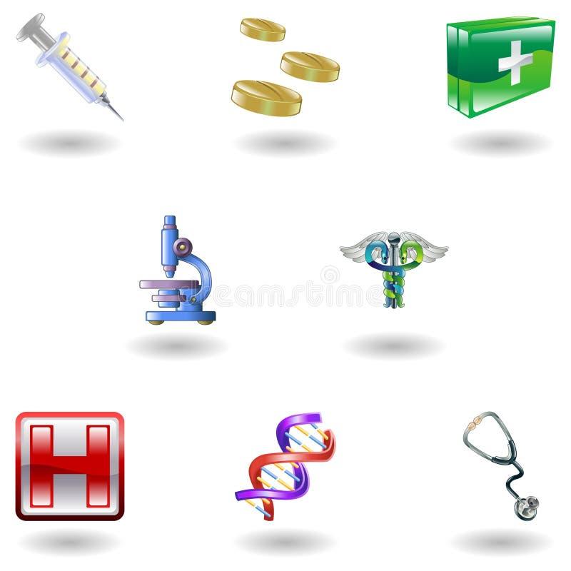 ikony medyczny błyszczący royalty ilustracja
