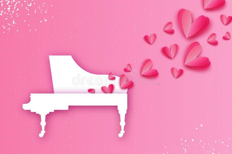 ikony miłości muzyki wektor Muzyka różowy kierowy kształt Biały Uroczysty pianino w papieru cięcia stylu szczęśliwe dni valentine ilustracja wektor