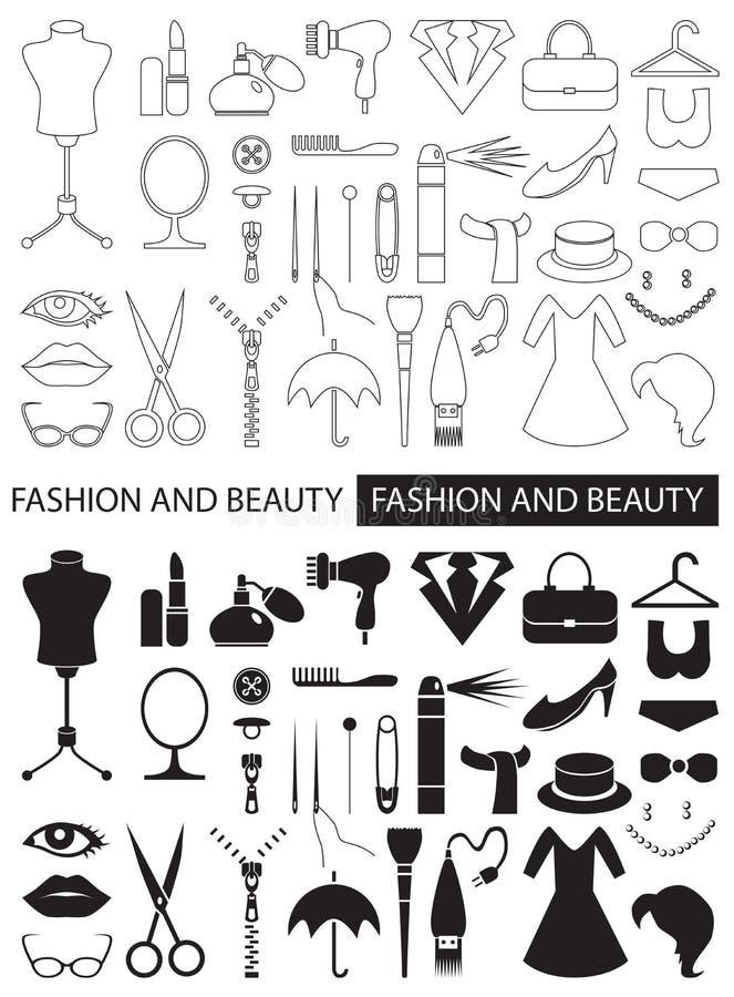 Ikony moda i piękno ilustracja wektor