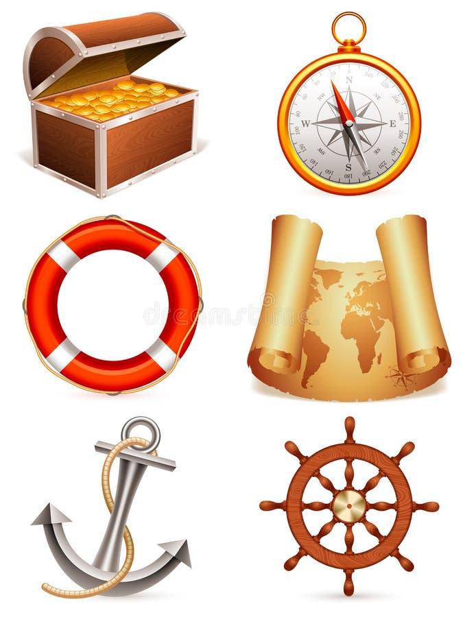 ikony morskie ilustracja wektor