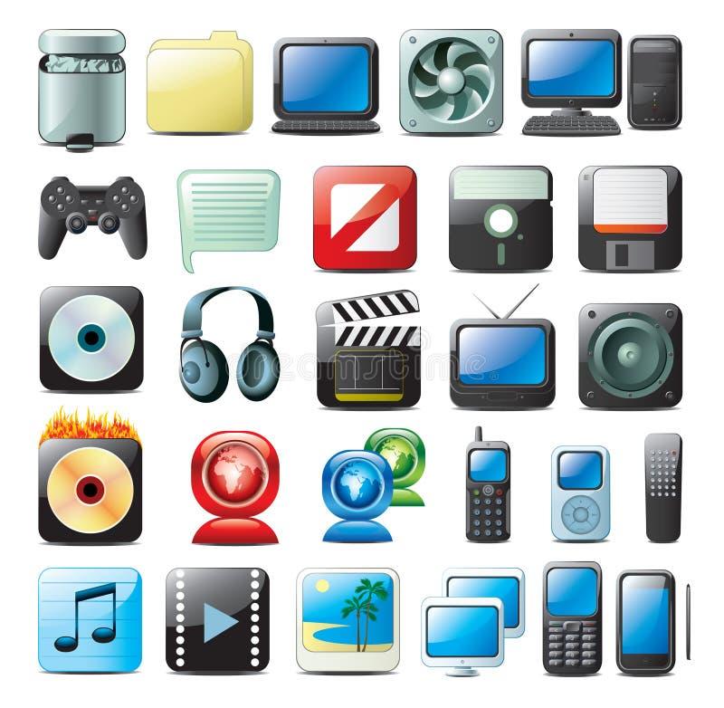 ikony multimedialne royalty ilustracja