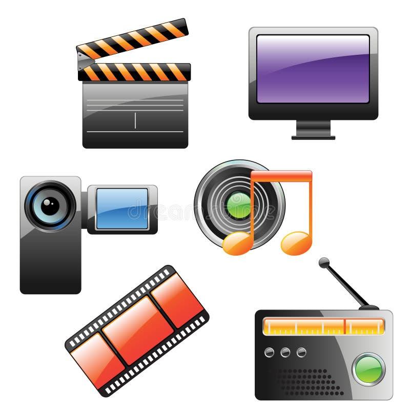 ikony multimedii set fotografia stock
