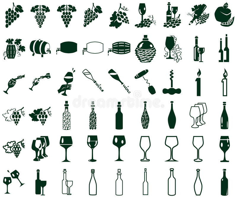Ikony na białym winie ilustracji