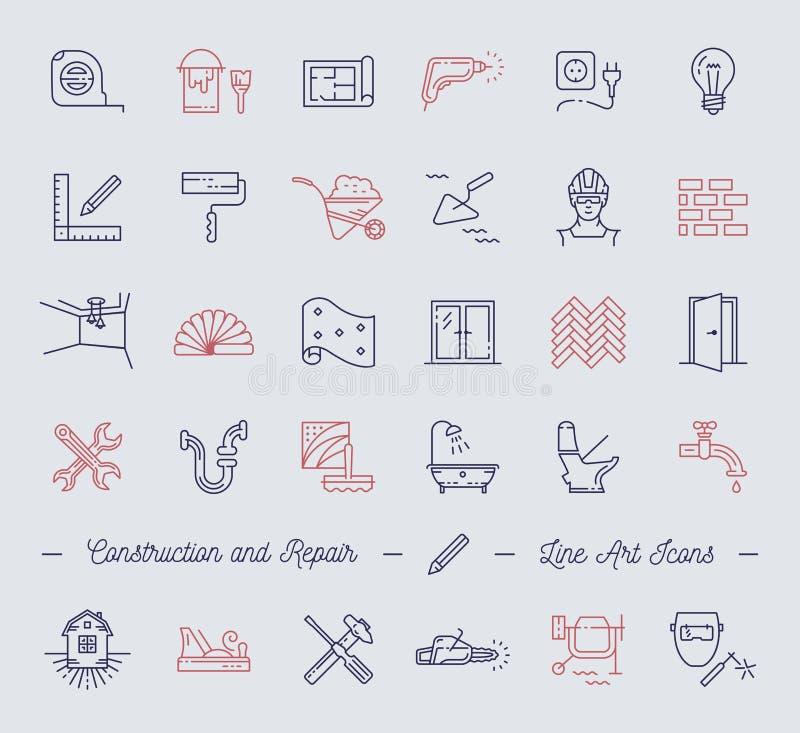 Ikony naprawiają, budujący, budowa symbole Domowy ulepszenie, instalacja wodnokanalizacyjna, napraw narzędzia royalty ilustracja