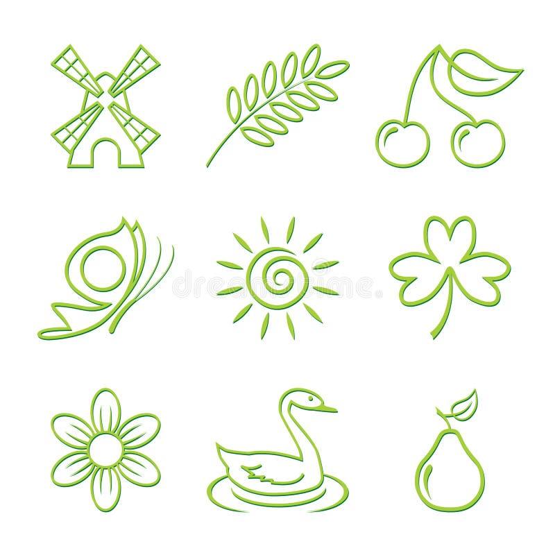 ikony natury set ilustracji