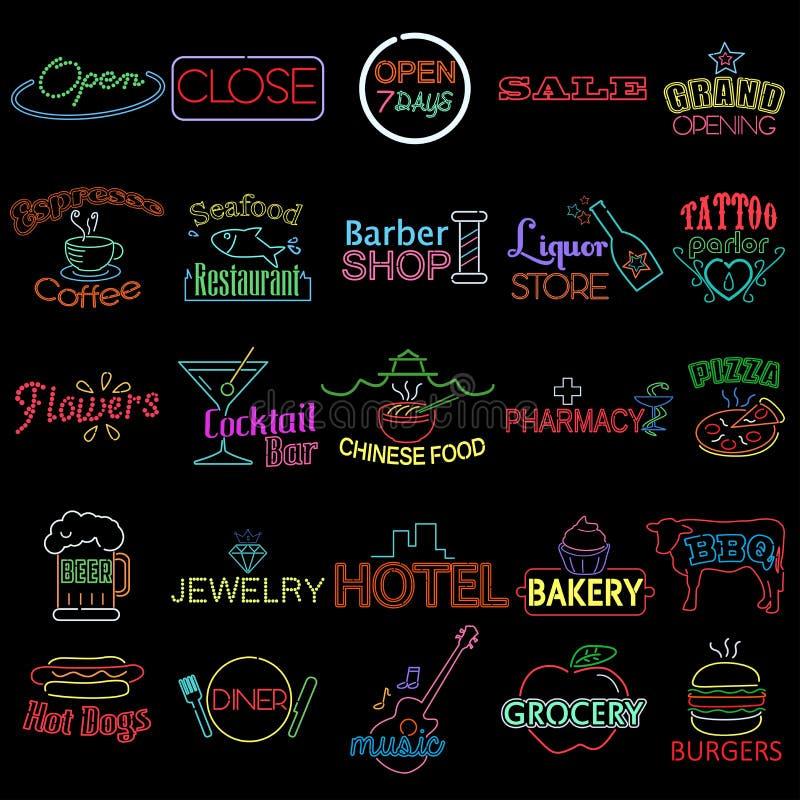 Ikony Neonowi sklepów znaki royalty ilustracja