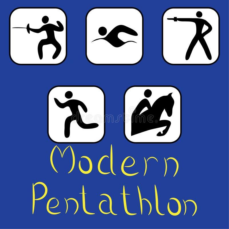 Ikony nowożytny pentatlon ilustracji