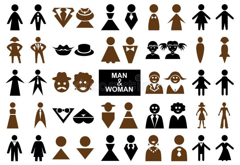Ikony obsługują i kobieta royalty ilustracja