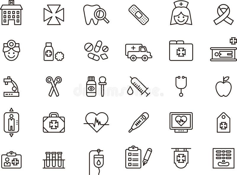 Ikony odnosić sie opieka medyczna ilustracja wektor