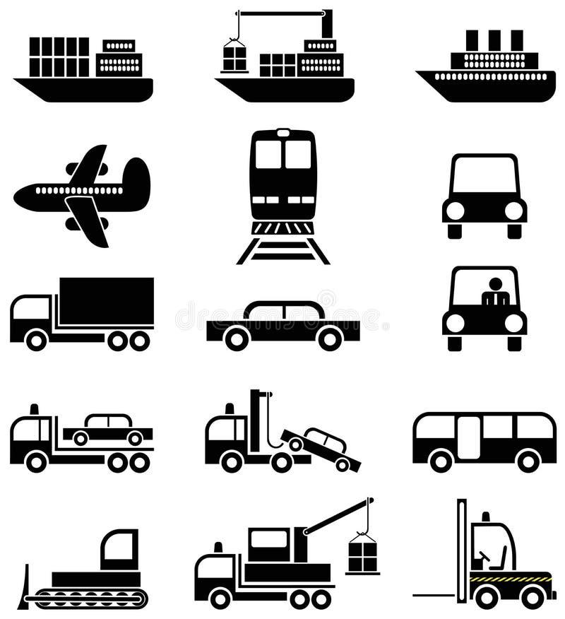 ikony odtransportowywają pojazdy ilustracja wektor