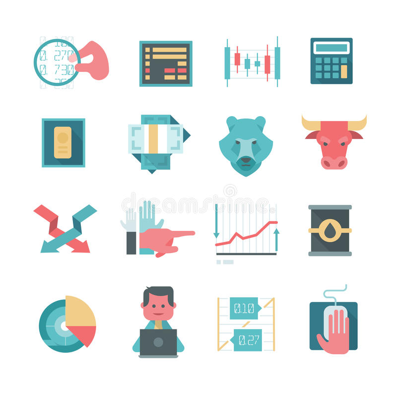 Ikony Online zapasu handel ilustracja wektor