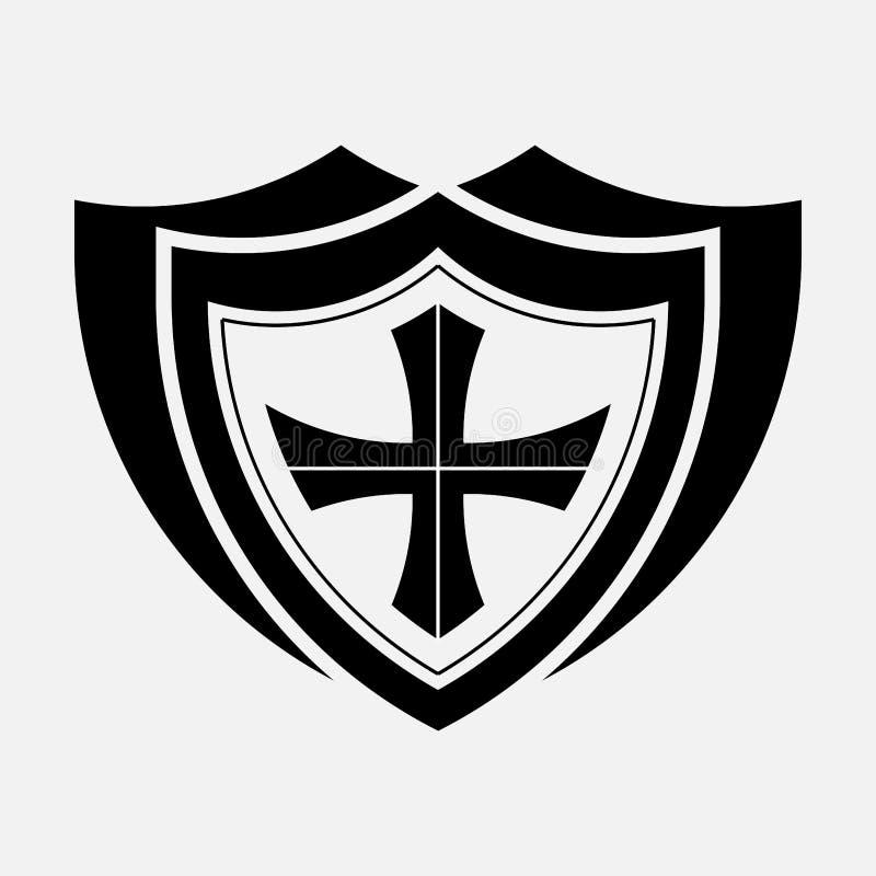 Ikony osłona, ochrona, bezpieczeństwo ilustracji