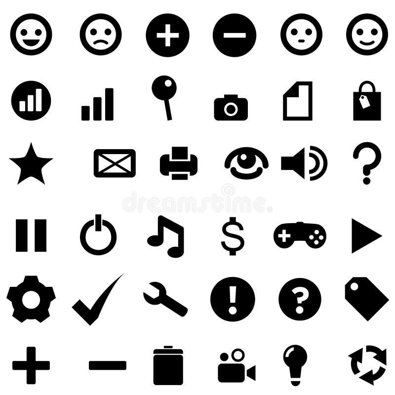 Ikony płaskiego czerni strona internetowa ilustracja wektor