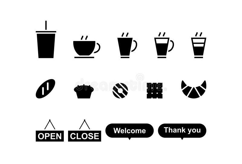 Ikony piekarnia i kawa royalty ilustracja