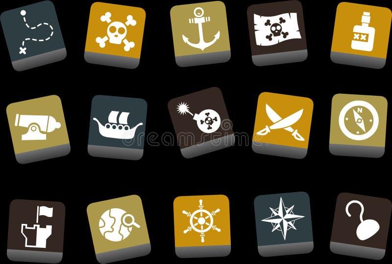 ikony pirata set ilustracji
