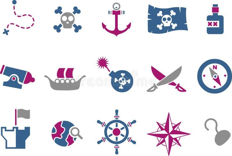 ikony pirata set ilustracja wektor