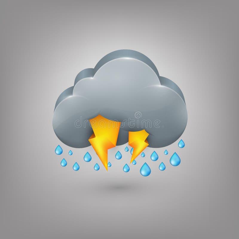Ikony pogoda. Podeszczowej chmury błyskawica ilustracja wektor
