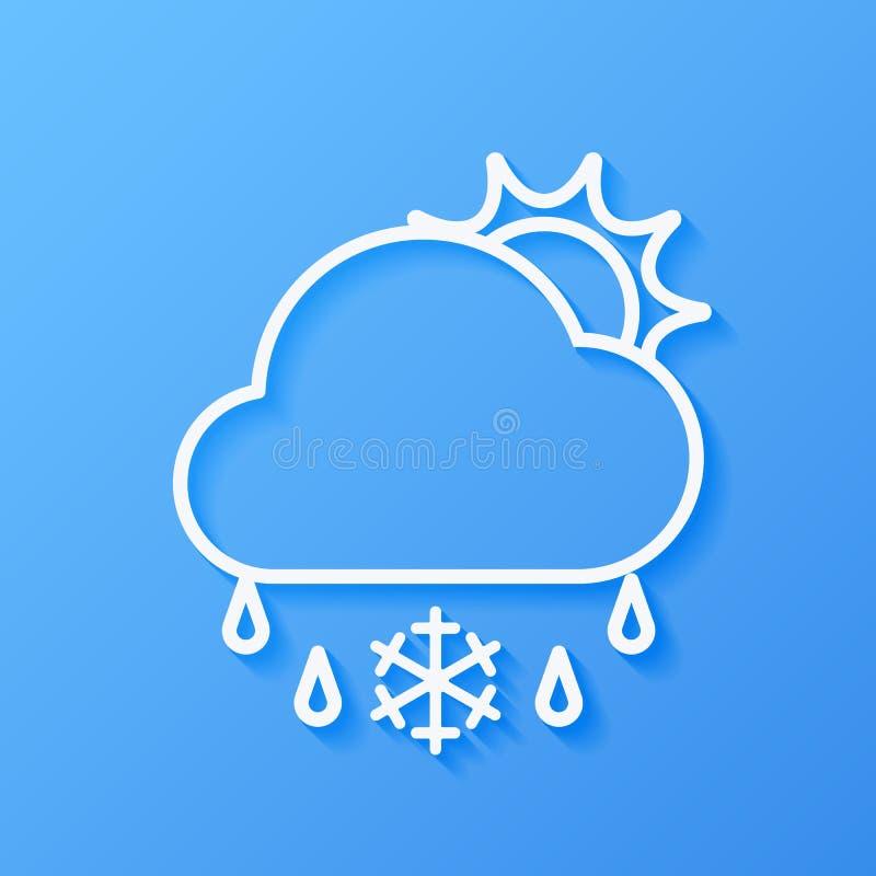 Ikony pogodowy słońce, chmura, sleet ilustracji