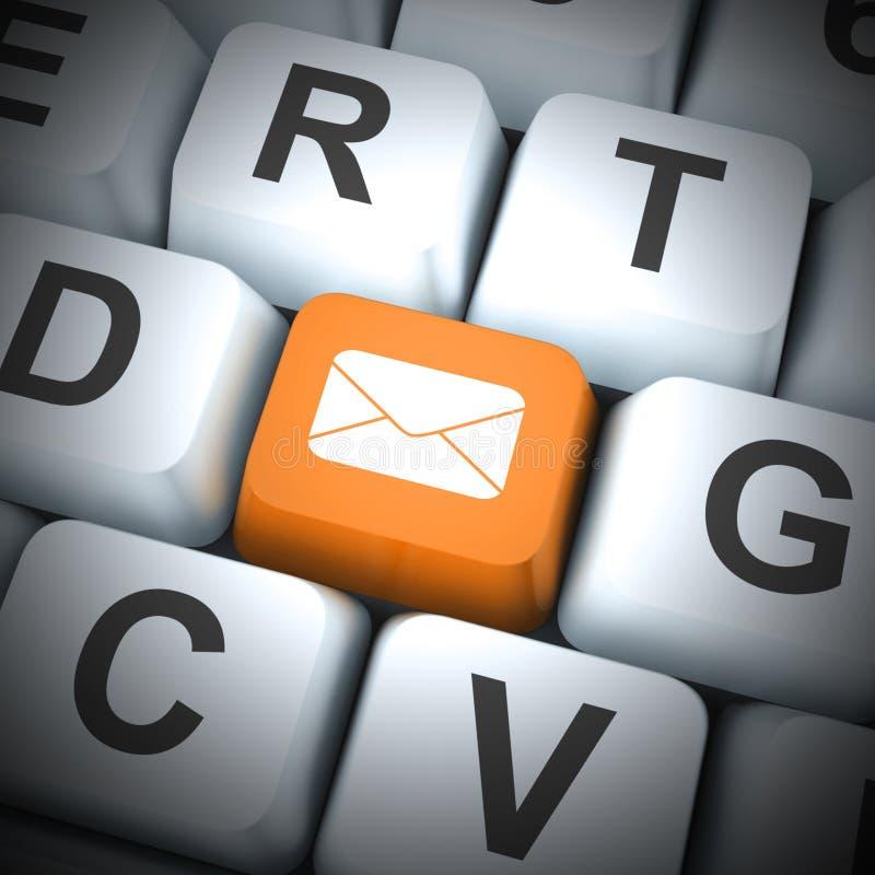 Ikony pojęć e-mail oznaczają korespondencję elektroniczną za pośrednictwem Internetu - ilustracja 3d royalty ilustracja