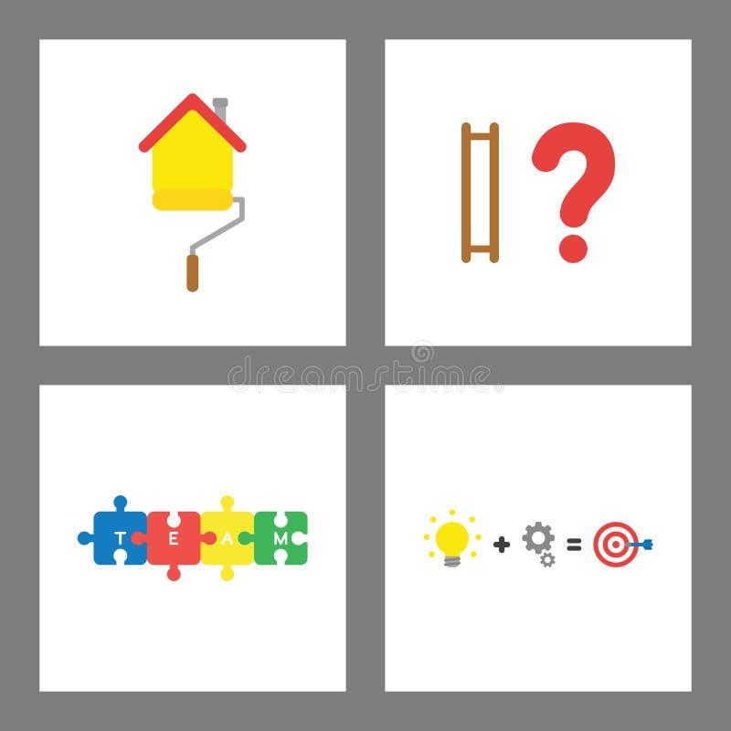 Ikony pojęcia set Malujący domowy, drabinowi chybianie kroki, łączący łamigłówka kawałki, pomysł praca i sukces, uderzają cel royalty ilustracja