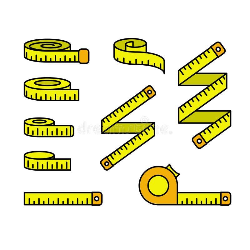 Ikony pomiaru taśmy - zestaw taśm pomiarowych i szpul linijkowych, centymetr ilustracji