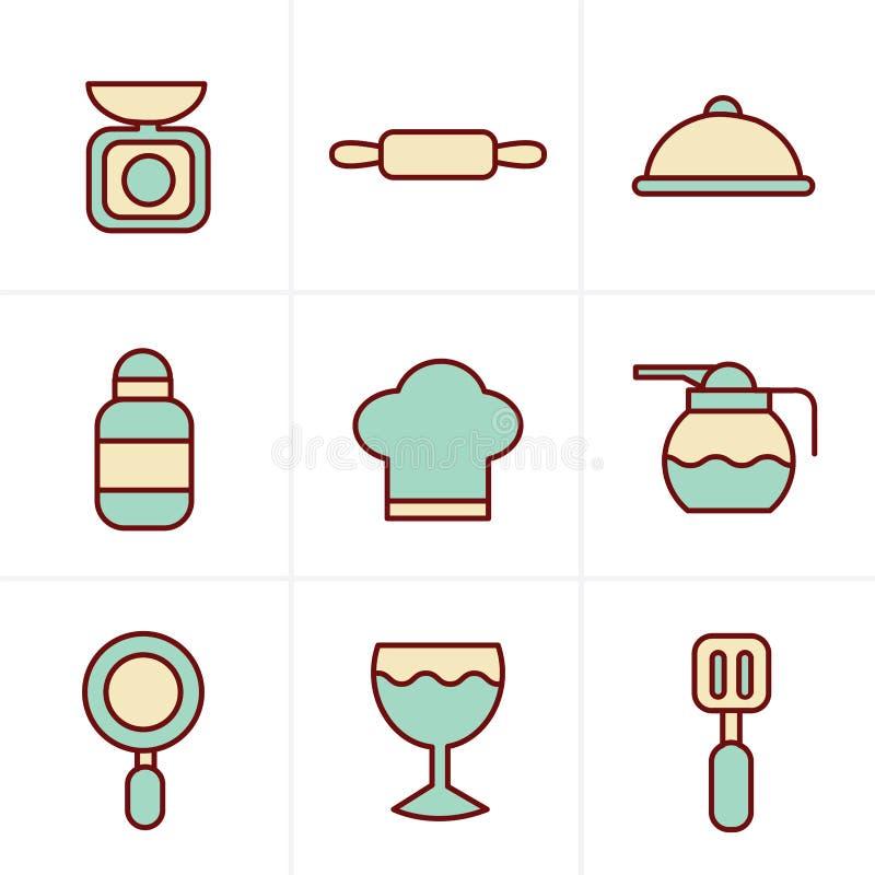 Ikony Projektują Kulinarnych Foods i Kuchenne kontur ikony ustawiających ilustracji