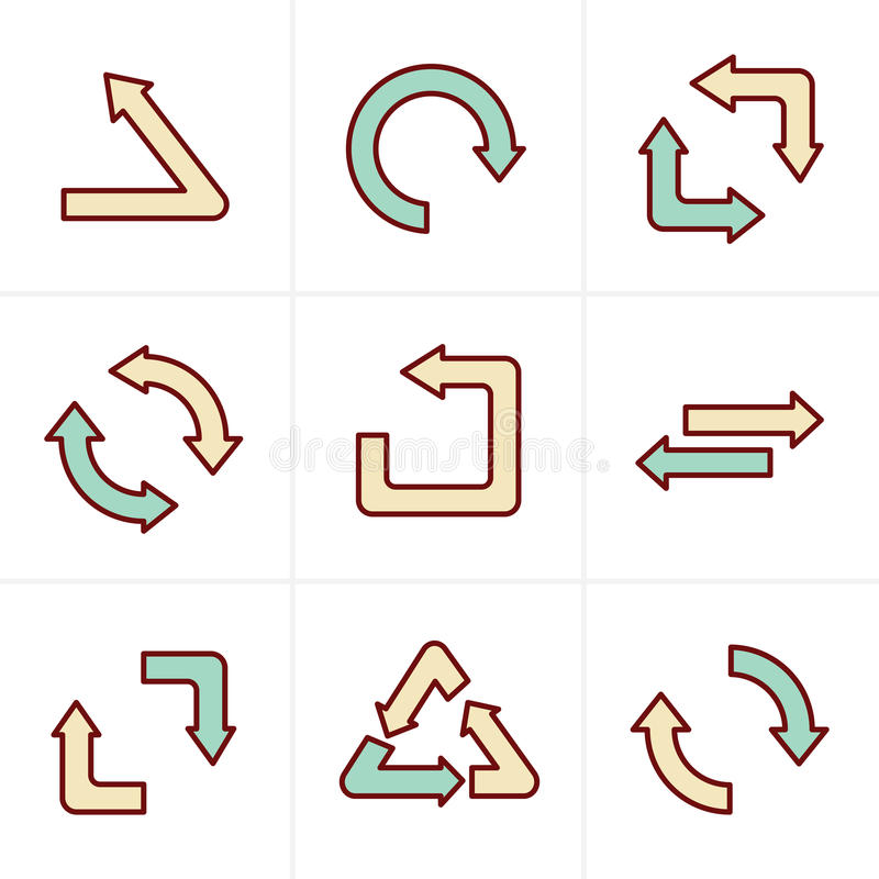 Ikony Projektują Prostego, płaskiego projekt, przetwarzają symbole ilustracja wektor
