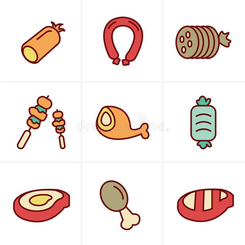 Ikony Projektują wektorową czarną mięsa i kiełbasy ikonę ustawiającą na bielu ilustracji