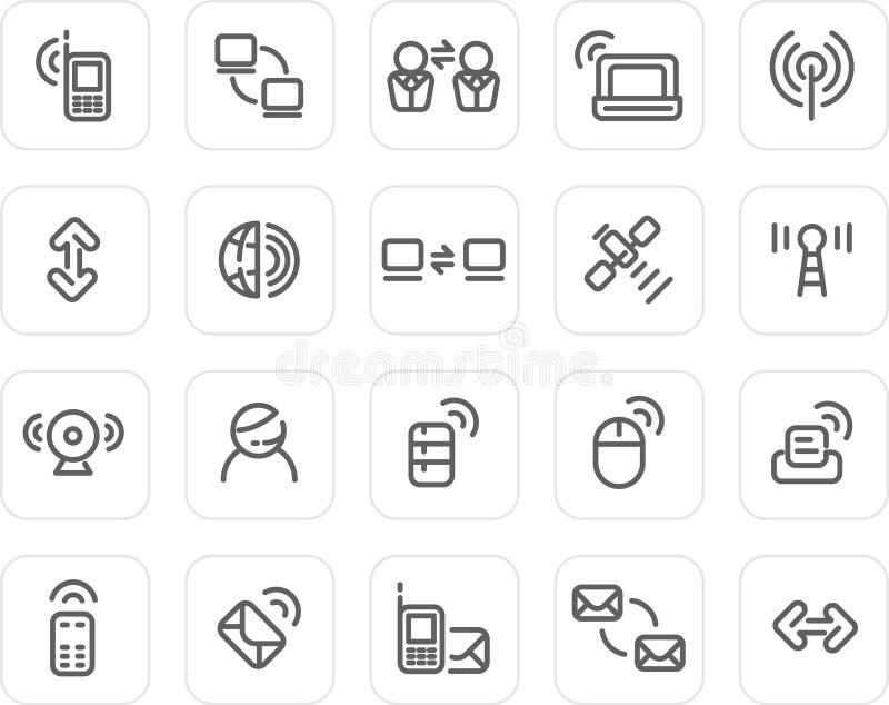 ikony prosty ustalony technologii radio royalty ilustracja