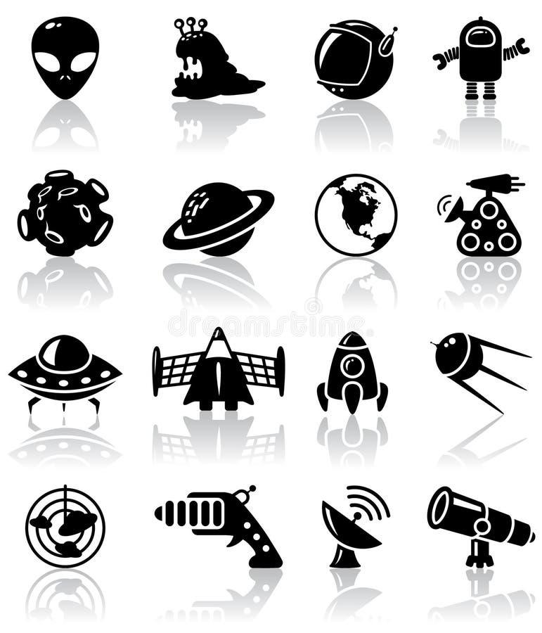 ikony przestrzeń royalty ilustracja