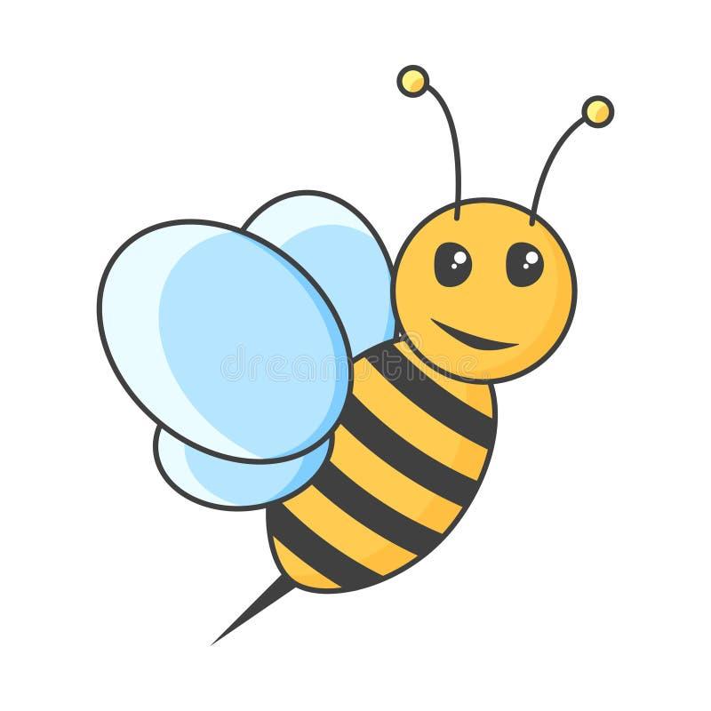 Ikony pszczoła tła ilustracyjny rekinu wektoru biel royalty ilustracja