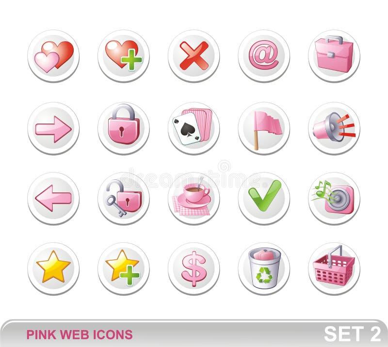 ikony różowią sieć set2 obraz stock