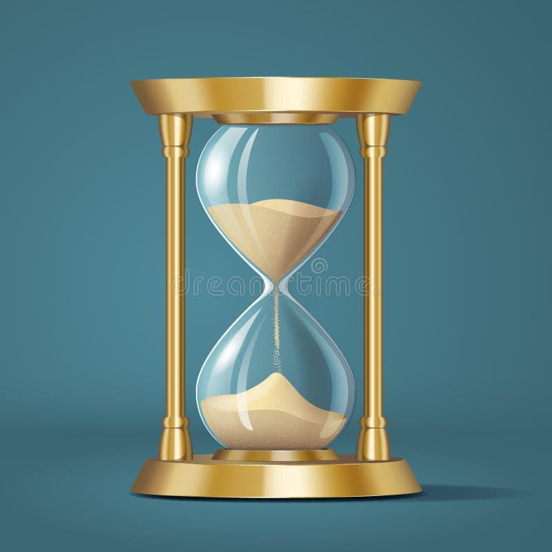 Ikony realistyczny złoty jaskrawy hourglass, zegarek z piaskiem, odizolowywającym ilustracja wektor
