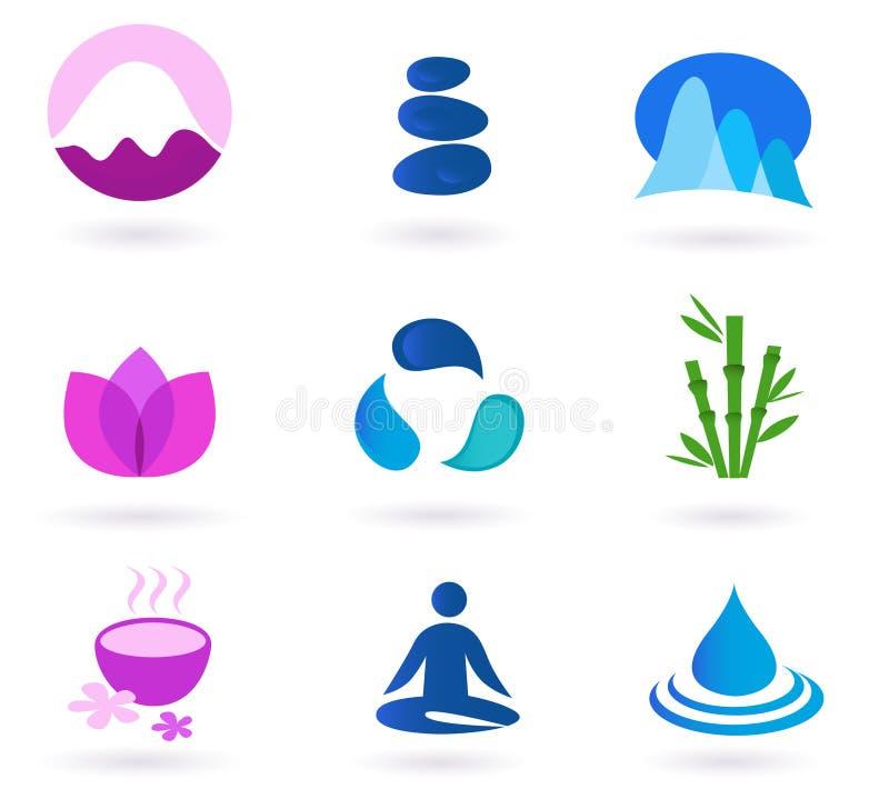 ikony relaksu setu wektoru wellness joga royalty ilustracja