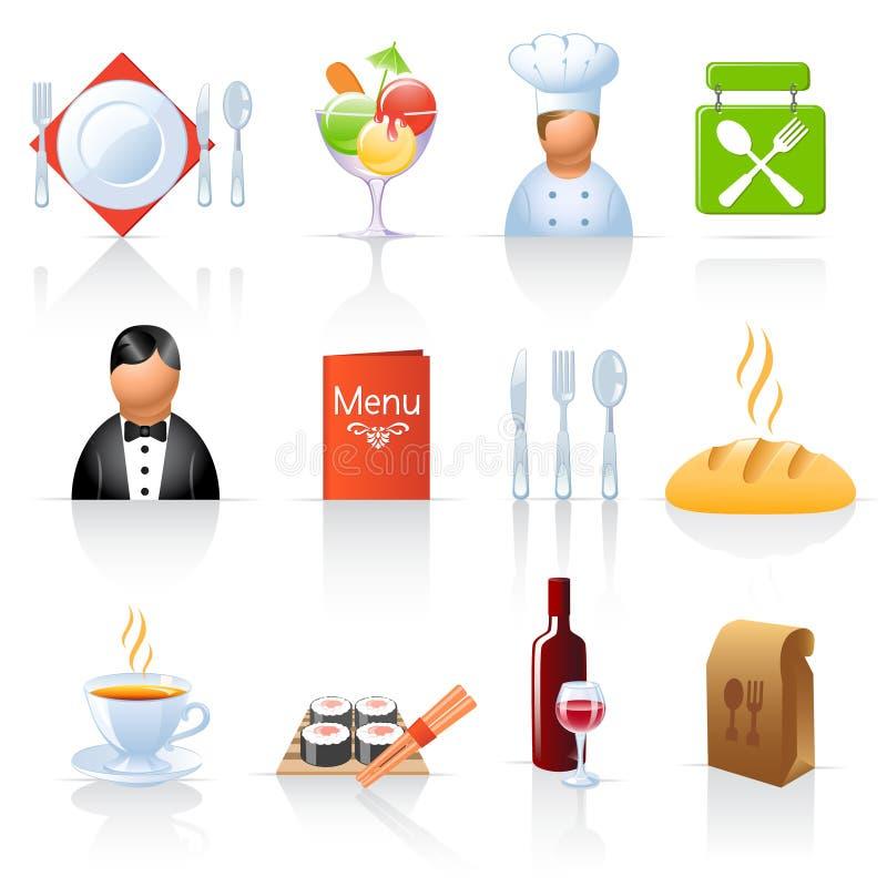 ikony restauracyjne royalty ilustracja