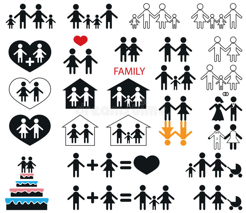 Ikony rodzina i dzieci ilustracja wektor