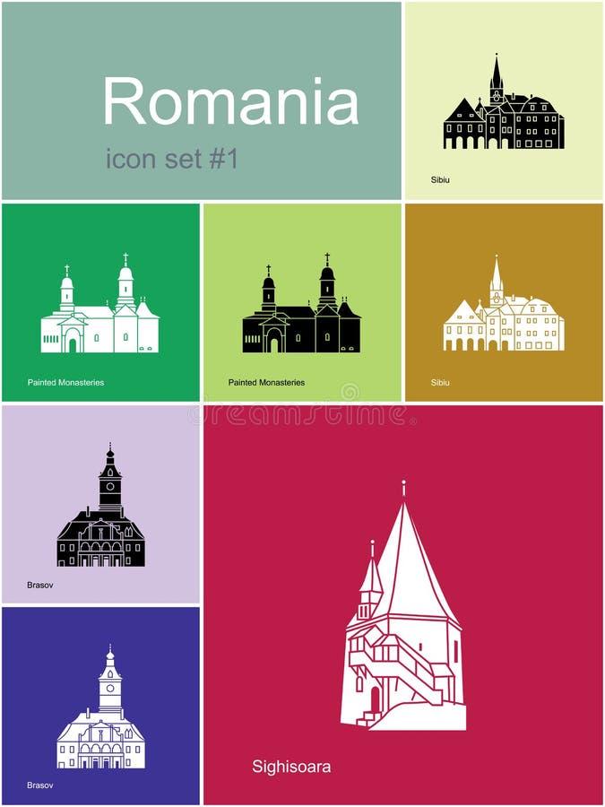 Ikony Rumunia ilustracja wektor