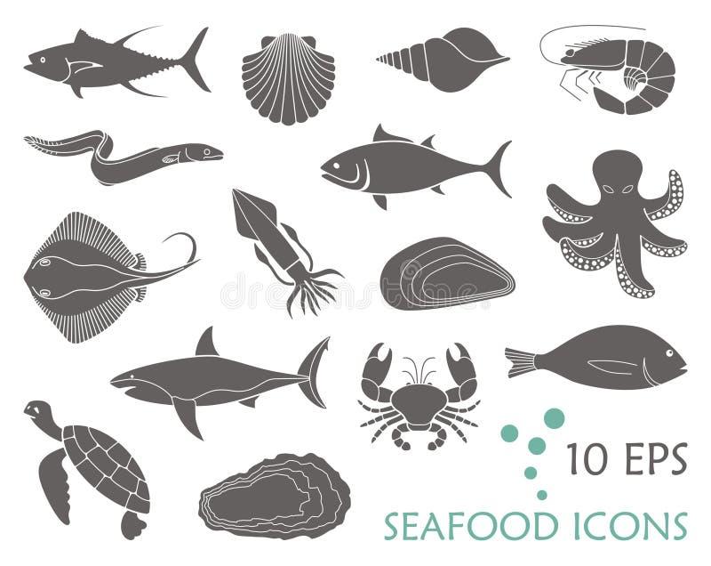 Ikony ryba i owoce morza ilustracja wektor